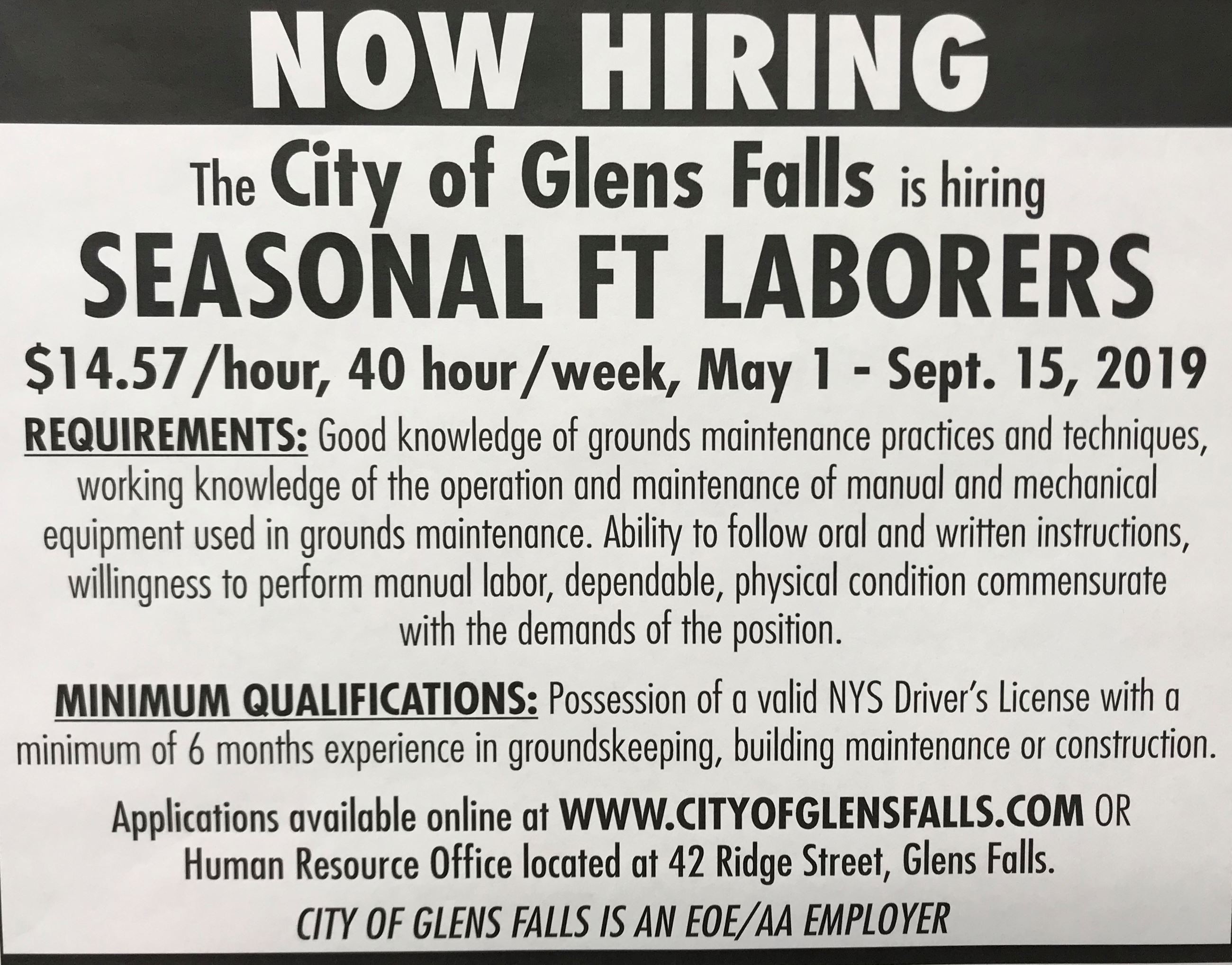 Seasonal Full Time Laborers