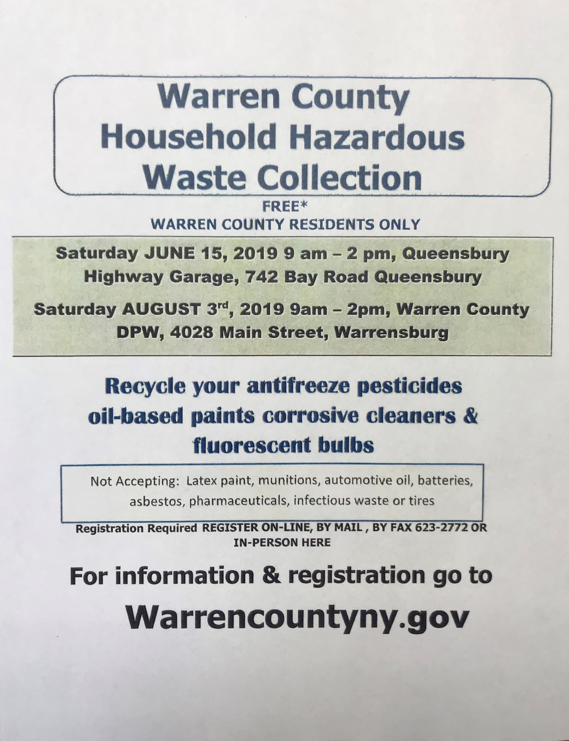 Warren County Hazardous Waste Collection