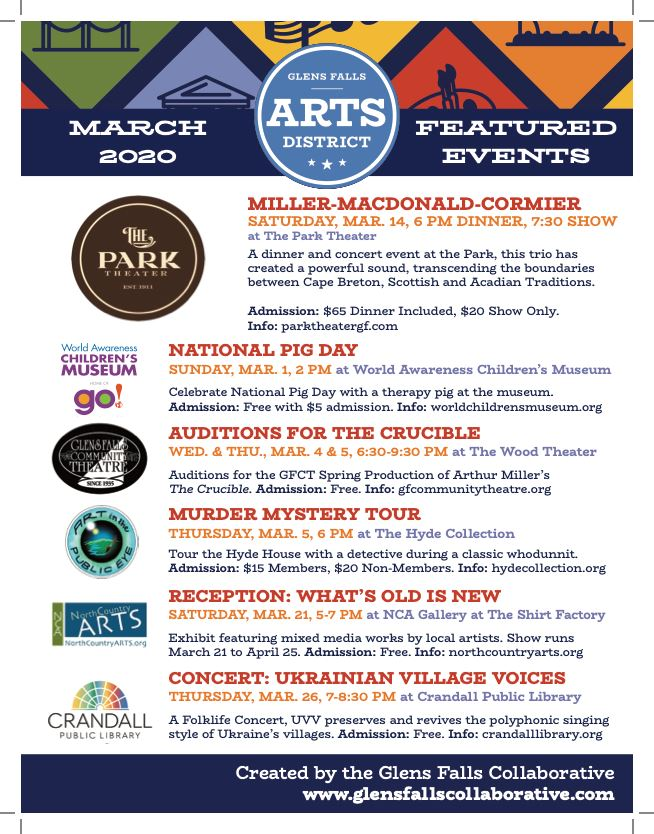 Arts Events March 2020